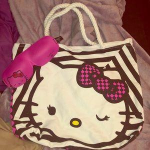 Hello Kitty Beach Bag and Sleep Mask